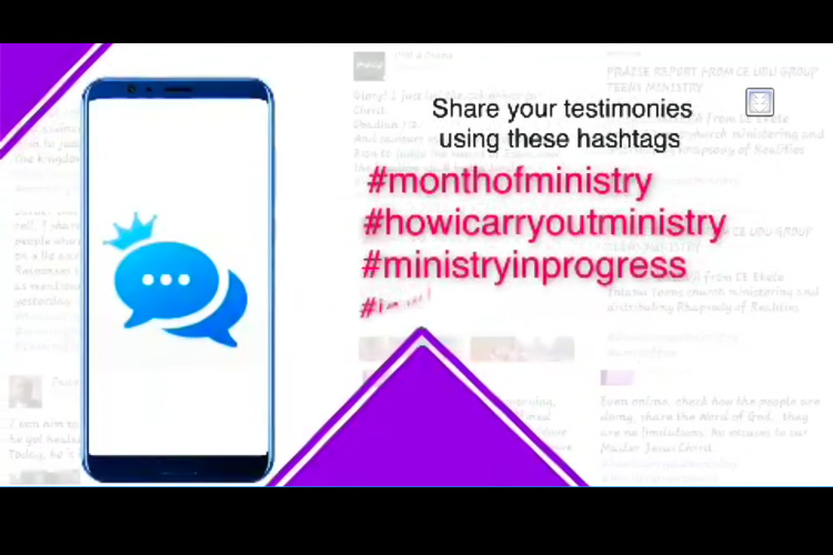 SHARE YOUR TESTIMONIES OF THE MONTH OF MINISTRY