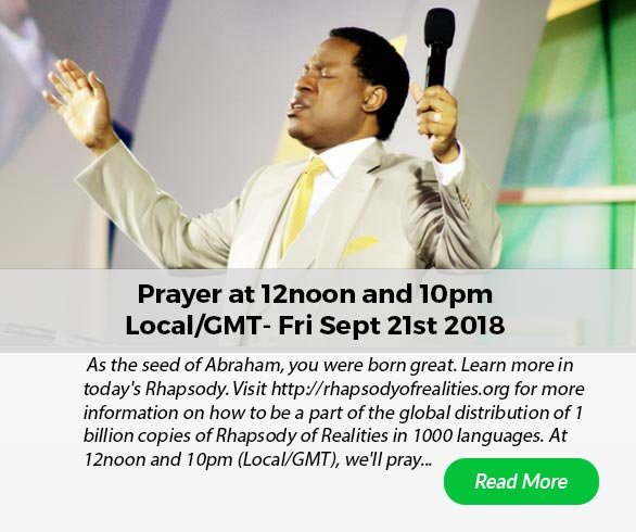 Prayer at 12noon and 10pm (Local/GMT) - Fri Sept 21